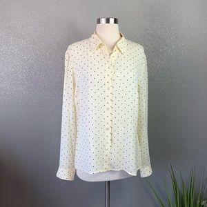 Ann Taylor silk square print blouse 12